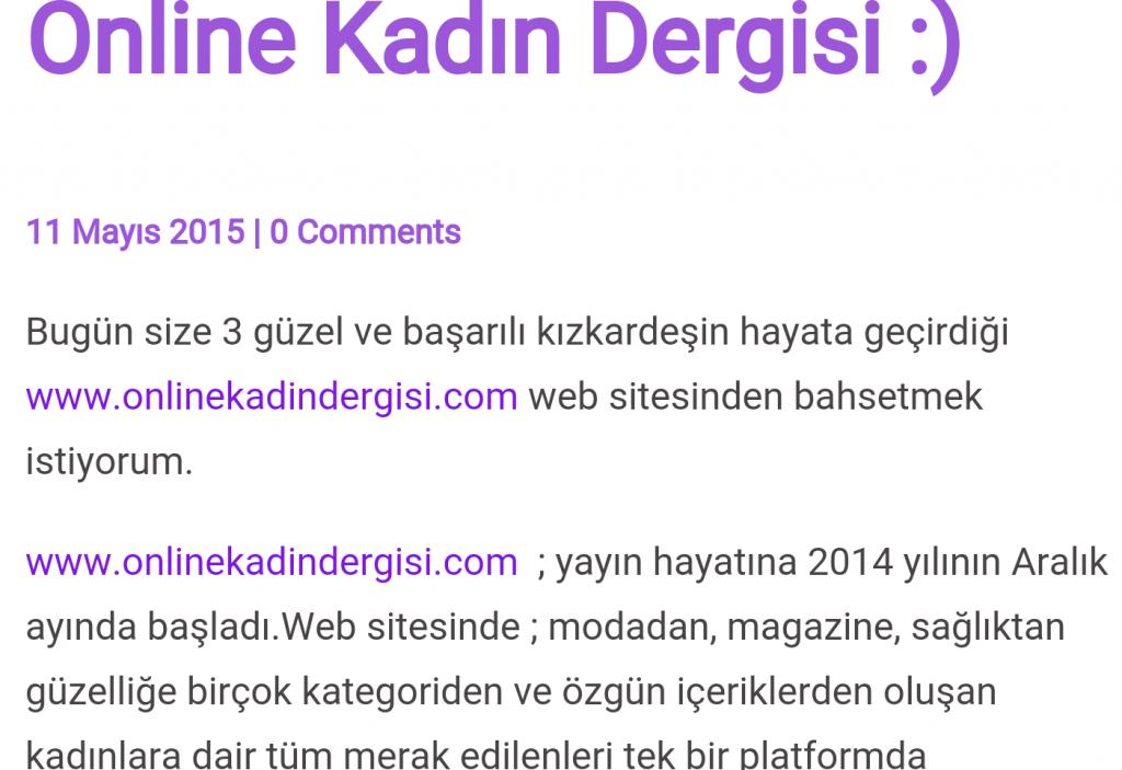 online kadın dergisi
